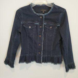 Ann Taylor jean jacket with fringe, size S, EUC